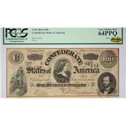 T-65, PF-2. 1864 $100 Confederate Note. PCGS Very Choice New 64 PPQ.