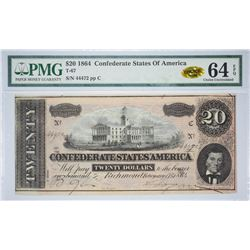T-67, PF-14. 1864 $20 Confederate Note. PMG Choice Uncirculated 64 EPQ.