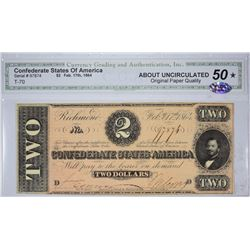 Lot of (8) Graded Confederate Banknotes. 1863-64.