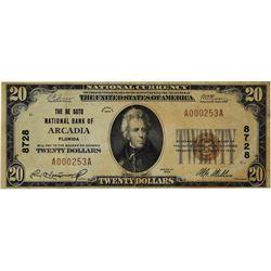 Arcadia, Florida. De Sota NB. Fr. 1802-1. 1929 $20 Type I. Charter 8728. Very Fine.