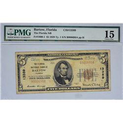 Bartow, Florida. Florida NB. Fr. 1800-1. 1929 $5 Type I. Charter 13389. PMG Choice Fine 15.