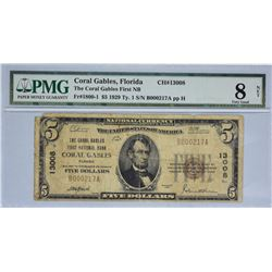 Coral Gables, Florida. Coral Gables FNB. Fr. 1800-1. 1929 $5 Type I. Charter 13008. PMG Very Good 8