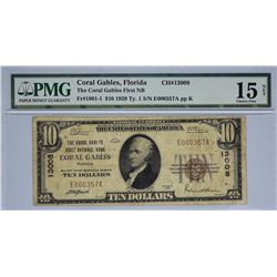 Coral Gables, Florida. Coral Gables FNB. Fr. 1801-1. 1929 $10 Type 1. Charter 13008. PMG Choice Fine