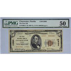 Clearwater, Florida. FNB. Fr. 1800-2. 1929 $5 Type II. Charter 12905.  PMG About Uncirculated 50.