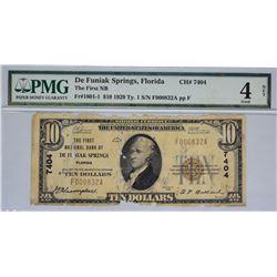De Funiak Springs, Florida. FNB. Fr. 101-1. 1929 $10 Type I. Charter 7404. PMG Good 4 Net. Paper Dam