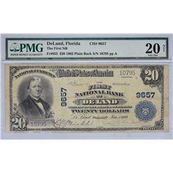 DeLand, Florida. FNB. Fr. 653. 1902 $20 Plain Back. Charter 9657. PMG Very Fine 20 Net. Edge & Inter