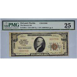 DeLand, Florida. Barnett NB. Fr. 1801-1. 1929 $10 Type I. Charter 13388. PMG Very Fine 25.