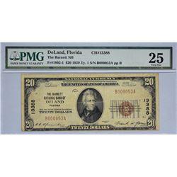DeLand, Florida. Barnett NB. Fr. 1802-1. 1929 $20 Type I. Charter 13388. PMG Very Fine 25.