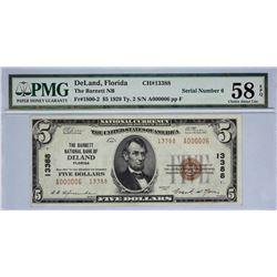DeLand, Florida. Barnett NB. Fr. 1800-2. 1929 $5 Type II. Charter 13388. PMG Choice About Uncirculat