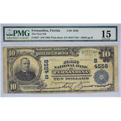 Fernandina, Florida. FNB. Fr. 627. 1902 $10 Plain Back. Charter 4558. PMG Choice Fine 15.