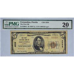 Fernandina, Florida. FNB. Fr. 1800-2. 1929 $5 Type II. Charter 4558. PMG Very Fine 20.