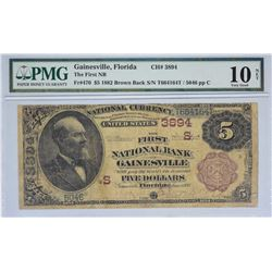 Gainesville, Florida. FNB. Fr. 470. 1882 $5 Brown Back. Charter 3894. PMG Very Good 10 Net. Repaired