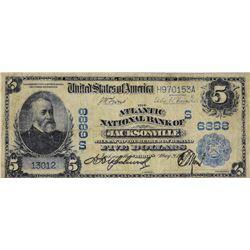 Jacksonville, Florida. Atlantic NB. Fr. 590. 1902 $5 Date Back. Charter 6888. Very Good.