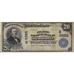 Jacksonville, Florida. Atlantic NB. Fr. 650. 1902 $20 Plain Back. Charter 6888. Fine.