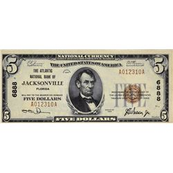 Jacksonville, Florida. Atlantic NB. Fr. 1800-1. 1929 $5 Type I. Charter 6888. About Uncirculated.