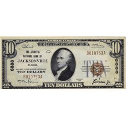 Jacksonville, Florida. Atlantic NB. Fr. 1801-1. 1929 $10 Type I. Charter 6888. Choice Very Fine.
