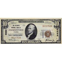 Jacksonville, Florida. Atlantic NB. Fr. 1801-1. 1929 $10 Type I. Charter 6888. Choice Very Fine.
