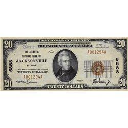 Jacksonville, Florida. Atlantic NB. Fr. 1802-1. 1929 $20 Type I. Charter 6888. Very Fine.