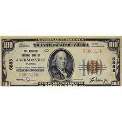 Jacksonville, Florida. Atlantic NB. Fr. 1804-1. 1929 $100 Type I. Charter 6888. Fine-Very Fine.