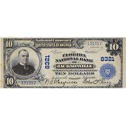Jacksonville, Florida. Florida NB. Fr. 626. 1902 $10 Plain Back. Charter 8321. Very Fine.