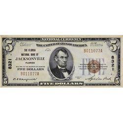 Jacksonville, Florida. Florida NB. Fr. 1800-1. 1929 $5 Type I, Charter 8321. Very Fine.