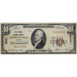 Jacksonville, Florida. Florida NB. Fr. 1801-1. 1929 $10 Type I. Charter 8321. Very Fine.