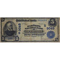 Jacksonville, Florida. Barnett NB. Fr. 592. 1902 $5 Date Back. Charter 9049. Very Good.
