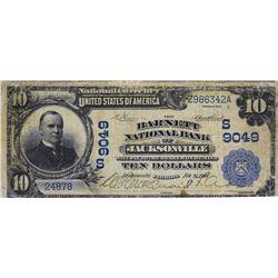 Jacksonville, Florida. Barnett NB. Fr. 626. 1902 $10 Date Back. Charter 9049. Very Good.