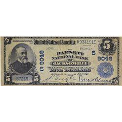 Jacksonville, Florida. Barnett NB. Fr. 600. 1902 $5 Plain Back. Charter 9049. Fine.
