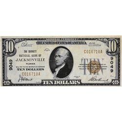 Jacksonville, Florida. Barnett NB. Fr.1801-1. 1929 $10 Type I. Charter 9049. Very Fine.