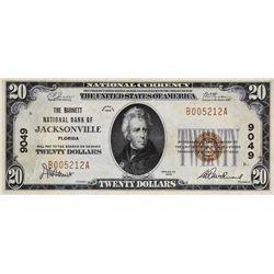 Jacksonville, Florida. Barnett NB. Fr.1802-1. 1929 $20 Type I. Charter 9049. Very Fine.