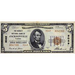 Jacksonville, Florida. Barnett NB. Fr. 1800-2. 1929 $5 Type II. Charter 9049. Choice Very Fine.