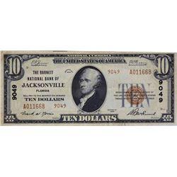 Jacksonville, Florida. Barnett NB. Fr.1801-2. 1929 $10 Type II. Charter 9049. Very Fine.