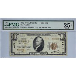 Key West, Florida. FNB. Fr. 1801-2. 1929 $10 Type II, Charter 4672. PMG Very Fine 25 Net. Stained.