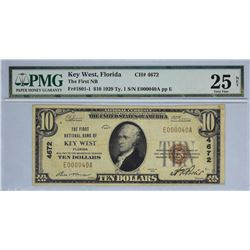 Key West, Florida. FNB. Fr. 1801-1. 1929 $10 Type I. Charter 4672. PMG Very Fine 25 Net. Ink, Stains