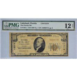 Lakeland, Florida. Florida NB. Fr. 1801-1. 1929 $10 Type I. Charter 13370. PMG Fine 12 Net. Large Te