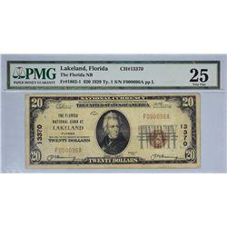 Lakeland, Florida. Florida NB. Fr. 1802-1. 1929 $20 Type I. Charter 13370. PMG Very Fine 25.