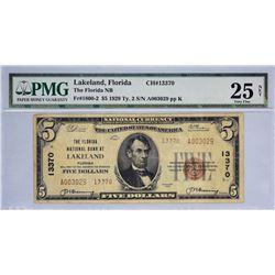 Lakeland, Florida. Florida NB. Fr. 1800-2. 1929 $5 Type II. Charter 13370. PMG Very Fine 25 Net. Sta
