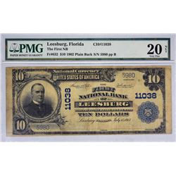 Leesburg, Florida. FNB. Fr. 632. 1902 $10 Plain Back. Charter 11038. PMG Very Fine 20 Net. Stained.