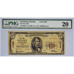 Leesburg, Florida. FNB. Fr. 1800-2. 1929 $5 Type I. Charter 11038. PMG Very Fine 20.