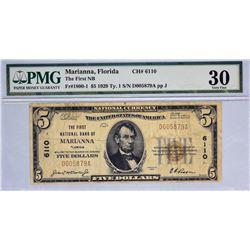 Marianna, Florida. FNB. Fr. 1800-1. 1929 $5 Type I. Charter 6110. PMG Very Fine 30.