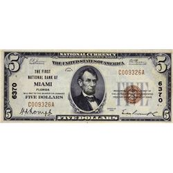 Miami, Florida. FNB. Fr. 1800-1. 1929 $5 Type I. Charter 6370. Very Fine.