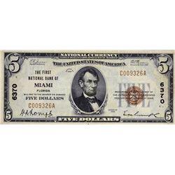 Miami, Florida. FNB. Fr. 1800-1. 1929 $5 Type I. Charter 6370. Very Fine.