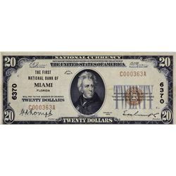 Miami, Florida. FNB. Fr. 1802-1. 1929 $20 Type I. Charter 6370. Very Fine.