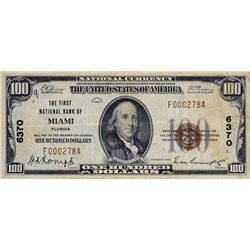 Miami, Florida. FNB. Fr. 1804-1. 1929 $100 Type I. Charter 6370. Very Fine.