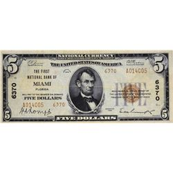 Miami, Florida. FNB. Fr.1800-2. 1929 $5 Type II. Charter 6370. Very Fine.