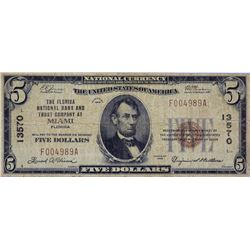 Miami, Florida. Florida NB&TC. Fr. 1800-1. 1929 $5 Type I. Charter 13570. Very Good-Fine.
