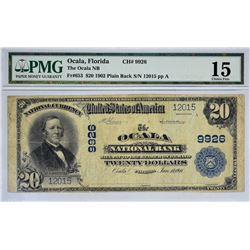 Ocala, Florida. Ocala NB. Fr. 653. 1902 $20 Plain Back. Charter 9926. PMG Choice Fine 15.
