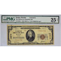 Ocala, Florida. Munroe and Chambliss NB. Fr. 1802-1. 1929 $20 Type I. Charter 10578. PMG Very Fine 2