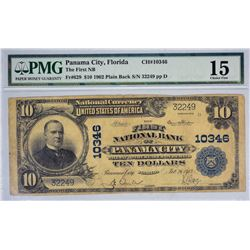 Panama City, Florida. FNB. Fr. 629. 1902 $10 Plain Back. Charter 10346. PMG Choice Fine 15.